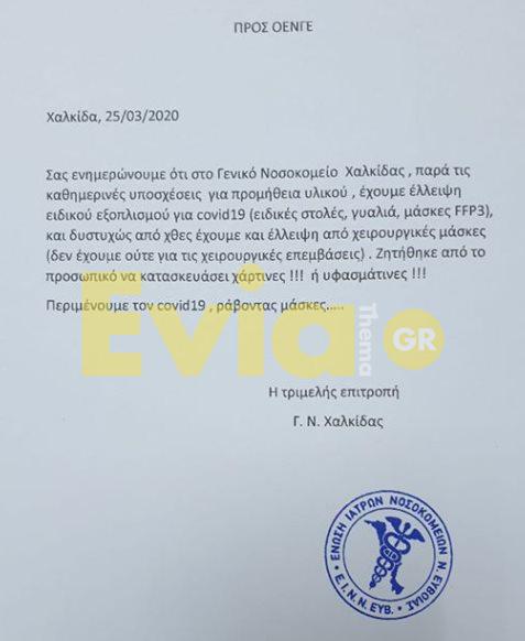 Νοσοκομείο Χαλκίδας ΣΟΚ – Νοσοκομείο Χαλκίδας: Καταγγελία επιτροπής για έλλειψη εξοπλισμού για Covid 19