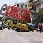 , Τροχαίο στη Νίκαια – Αναποδογύρισε ταξί – ΦΩΤΟΓΡΑΦΙΕΣ, Eviathema.gr | Εύβοια Τοπ Νέα Ειδήσεις