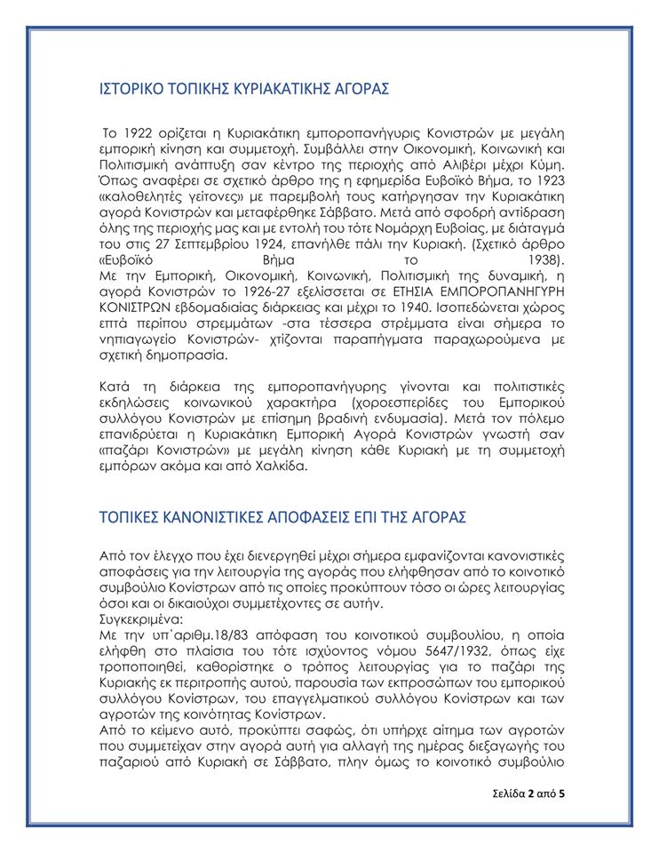 Εμπορικό Σύλλογο Κονιστρών, Εμπορικός Σύλλογος Κονιστρών: Νέα επιστολή για την αποκατάσταση της Κυριακάτικης Λαϊκής Αγοράς, Eviathema.gr | ΕΥΒΟΙΑ ΝΕΑ - Νέα και ειδήσεις από όλη την Εύβοια