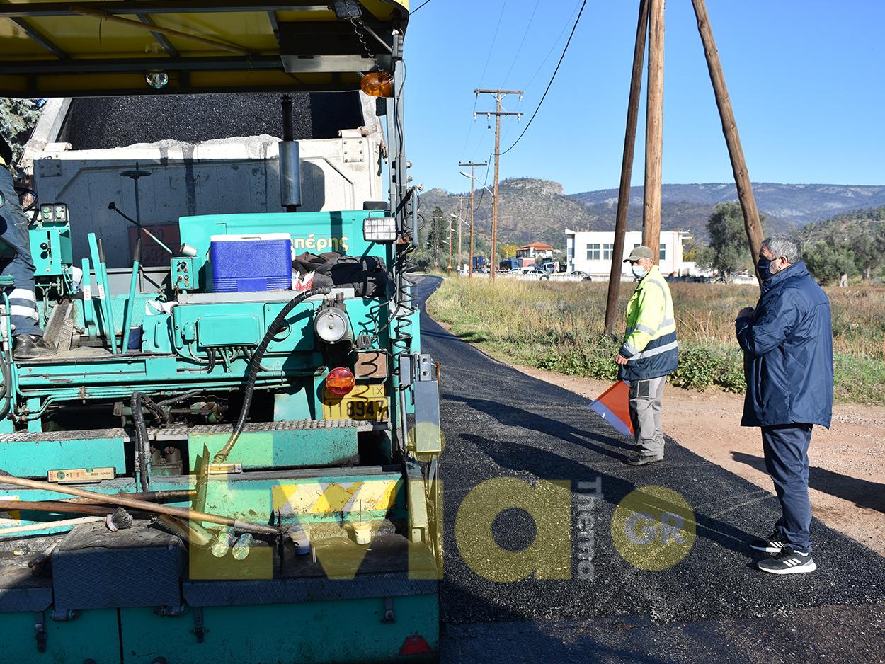 εργασίες ασφαλτόστρωσης στην έξοδο προς Κοντοδεσπότι