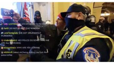 Καπιτώλιο selfie αστυνομικού με διαδηλωτή