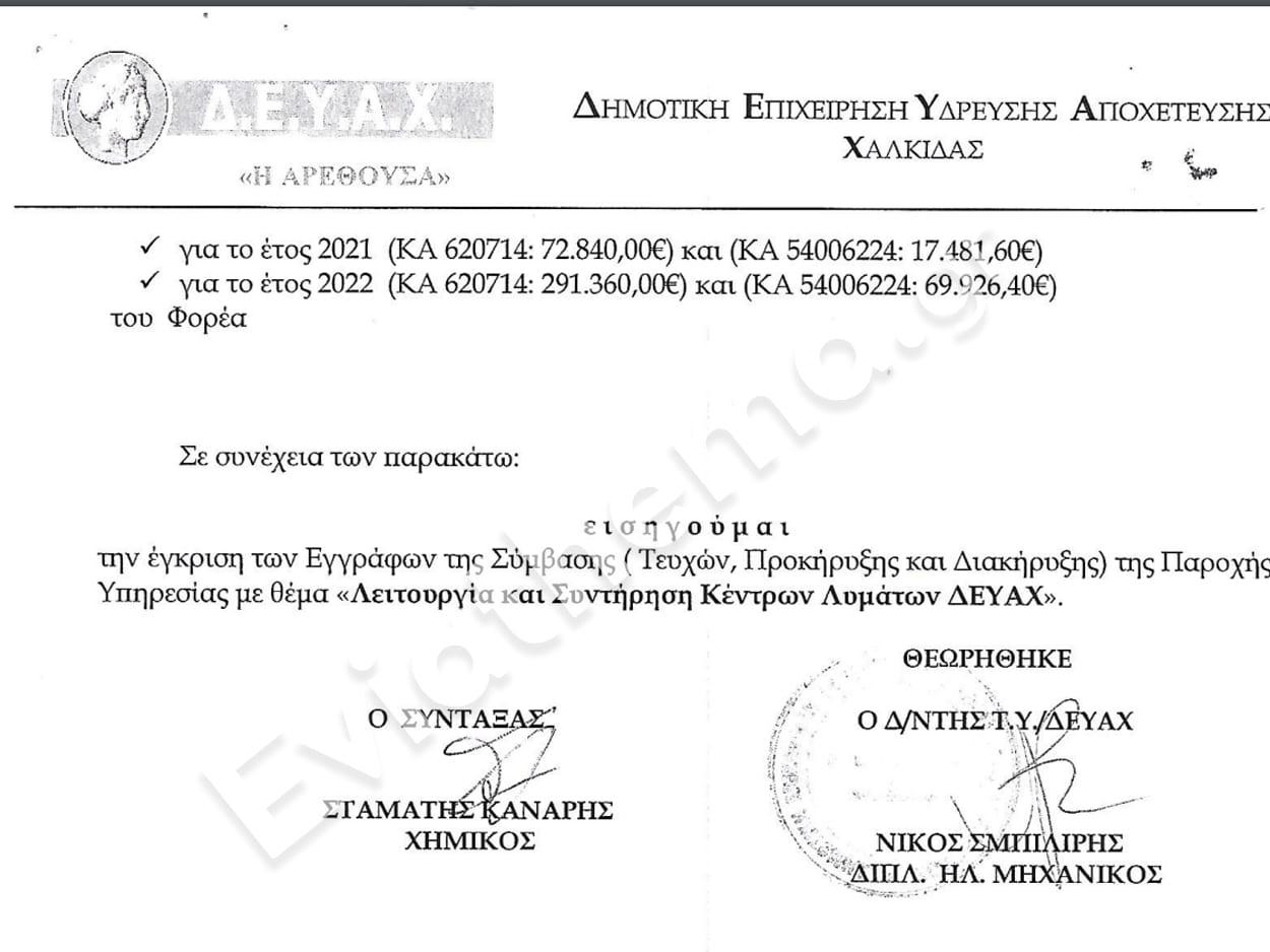 Απόφαση απόρριψης κόλαφος της ελεγκτικής επιτροπής σε ανάθεση σύμβασης της ΔΕΥΑΧ, ΑΠΟΚΛΕΙΣΤΙΚΟ – ΒΟΜΒΑ ΜΕΓΑΤΟΝΩΝ στον Δήμο Χαλκιδέων – Απόφαση απόρριψης κόλαφος της ελεγκτικής επιτροπής σε ανάθεση σύμβασης της ΔΕΥΑΧ, Eviathema.gr   Εύβοια Τοπ Νέα Ειδήσεις